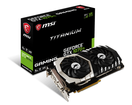 PLACA DE VIDEO MSI GTX 1070TI TITANIUM 8GB VR READY PCIE