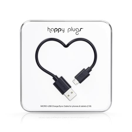 CABLE HAPPY PLUGS USB A MICROUSB 2MTS ANDROID BLACK
