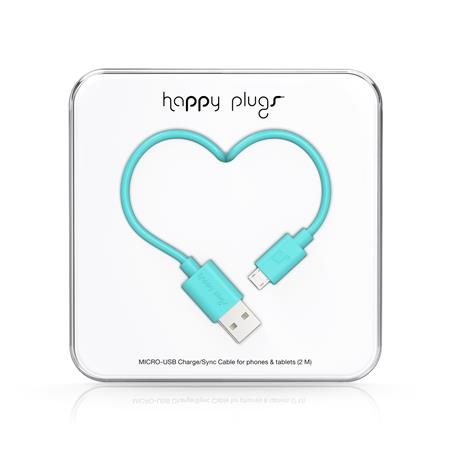 CABLE HAPPY PLUGS USB A MICROUSB 2MTS ANDROID TURQUOISE