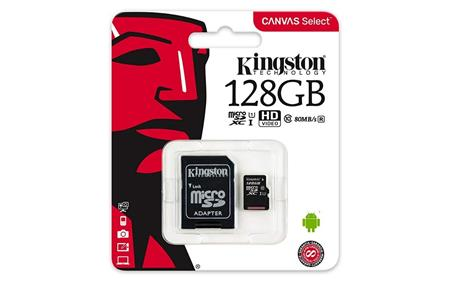 TARJETA DE MEMORIA MICROSD 128GB KINGSTON CANVAS SELECT CLASE 10