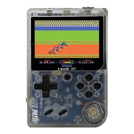 CONSOLA LEVEL UP RETRO BOY TRANSPARENTE 168 JUEGOS
