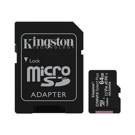 TARJETA DE MEMORIA MICROSD 64GB KINGSTON CANVAS PLUS CLASE 10 UHS-I 100 MB/s