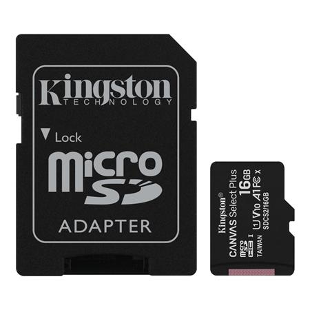 TARJETA DE MEMORIA MICROSD 16GB KINGSTON CANVAS PLUS CLASE 10 UHS-I 100 MB/s