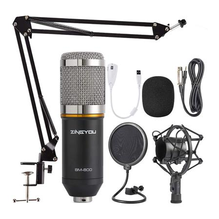 MICROFONO ZINGYOU BM-800 KIT CONDENSADOR SUSPENSION AJUSTABLE FILTRO GRAB. MONTURA METAL