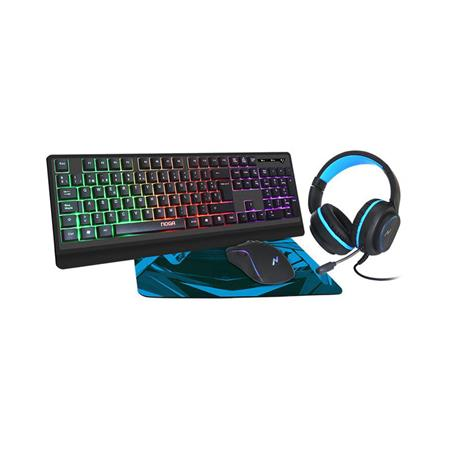 TECLADO + MOUSE + AURICULAR C/MIC + PAD NOGA NKB-405 GAMER