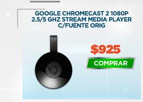 GOOGLE CHROMECAST 2 1080P 2.5/5 GHZ STREAM MEDIA PLAYER C/FUENTE ORIGINAL