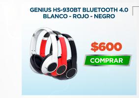 GENIUS HS-930BT BLUETOOTH 4.0 BLANCO ROJO Y NEGRO
